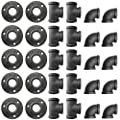 Alffun 3/4 Inch Black Malleable Iron Cast Pipe Fitting Flange Tees Elbow, for DIY Decor or Industrial Vintage Style, 30-Pack.