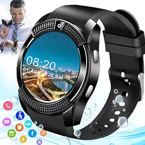 Mahipey Smartwatch con Whatsapp,Bluetooth Smart Watch Pantalla táctil,Reloj Inteligente Hombre con Cámara, Impermeable Smartwatches Telefono Sport Compatible Android iOS para Hombre Mujer