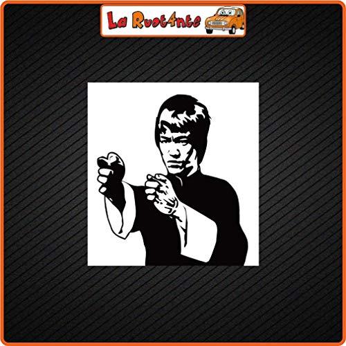 La Ruotante 2 stickers Bruce Lee (Vinyl) auto motorfiets Vespa fiets helm koffer 8x7,5 Cm