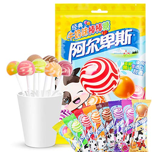 China Organic Lollipop - Mini Cream Swirl and Original Lollipops, 20Pcs of Assorted Flavors of Mixed Fruit Suckers, Non GMO, Gluten Free, Vegan, Individually Wrapped for Birthdays and Celebrations