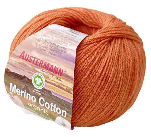 austermann Merino Cotton Organic, orange 08, Biowolle zum Stricken und Häkeln, Wolle GOTS Zertifiziert