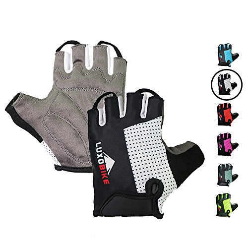 Cycling gloves (Black - Half finger, X-Large)