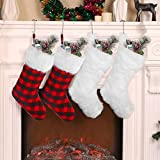 JOVITEC 20 Inch Christmas Stockings Fireplace Hanging Stockings Cozy Faux Fur Stocking Plaid Stocking for Christmas Decoration?Color 5, 4 Pieces?