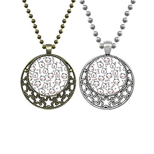Halskette mit Anhänger für Katzen und Hunde, Knochenschutz, Retro-Stil, Mond, Sterne, Schmuck