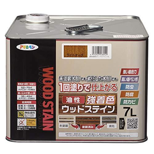 アサヒペン(Asahipen) 油性強着色ウッドステイン 7L ライトオーク