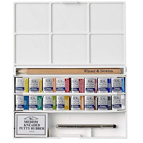 Winsor & Newton Cotman Acuarelas, caja de bolsillo Sketcher de lujo 16 medio godets