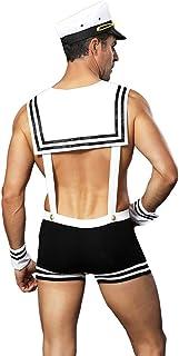 Men's Sailor Suit Game,Navy Uniform Temptation Sexy White Set,Role Play Outfit Lingerie Club Uniform Seaman Party Costume