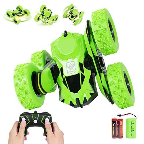 ANTAPRCIS Op afstand bestuurbare auto, oplaadbare RC stunt auto racewagen, hoge snelheid speelgoedauto, radiografisch bestuurbare buggy auto, auto speelgoed racewagen voor kinderen jongens meisjes groen