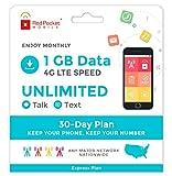 Red Pocket Mobile Express 30 Jours Plan de téléphone prépayé sans contrat Libres...