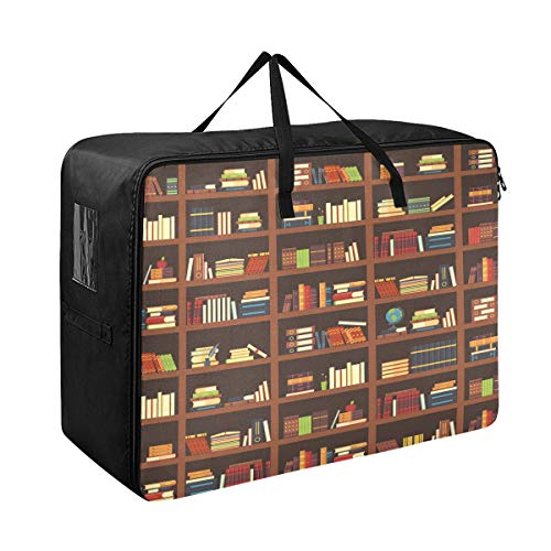 Godfery Gabriel Comforter Storage Bags Old Library Bookshelf Best Extra Large Blanket Clothes Storage and Organization Space Saver Bed Closet Lidded Storage Cubes Basket Containers for Bedding, Cargo