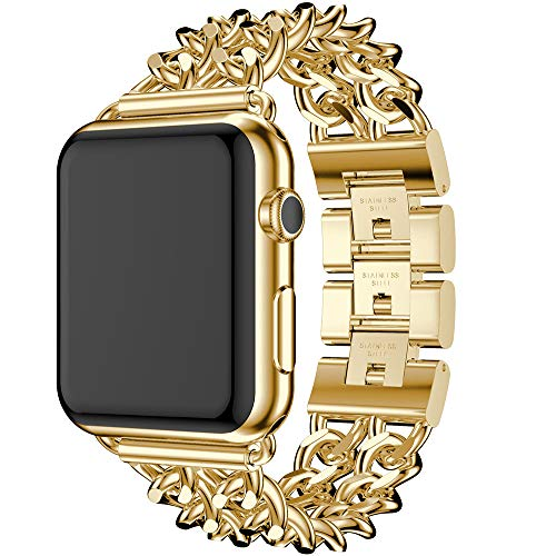 XIALEY Cinturino di Ricambio per Apple Watch 42 Mm 44Mm 38Mm 40Mm, Cinturini per Donna in Acciaio Inossidabile con Cinghia A Catena in Metallo per Iwatch Serie 5/4/3/2/1,d'oro,38MM/40MM