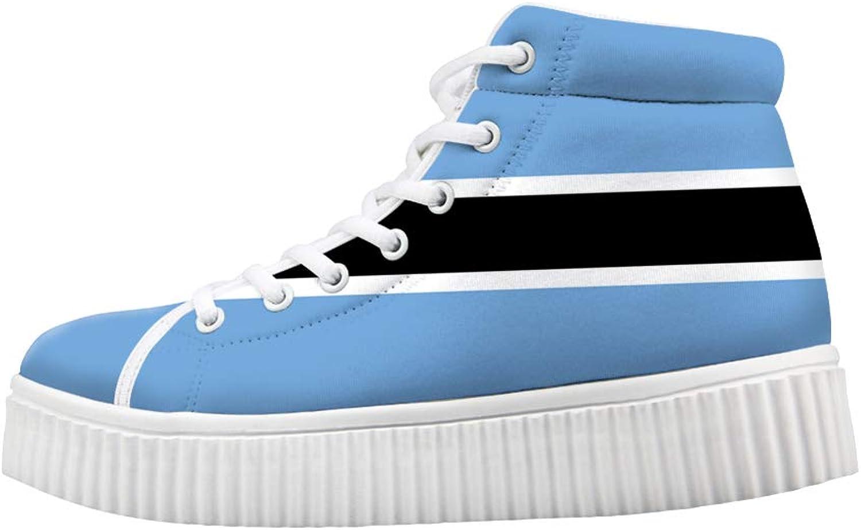 Owaheson Platform Lace up Sneaker Casual Chunky Walking shoes High Top Women Botswana Flag