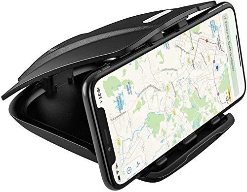 APPS2Car Soporte GPS para Salpicadero de Coche con tres ranuras de ángulo de ajuste para Teléfono Móvil y GPS para iPhone X 8 Plus 7 6S Samsung S9 S8 Huawei Garmin TomTom Navman Sat Nav navegación GPS