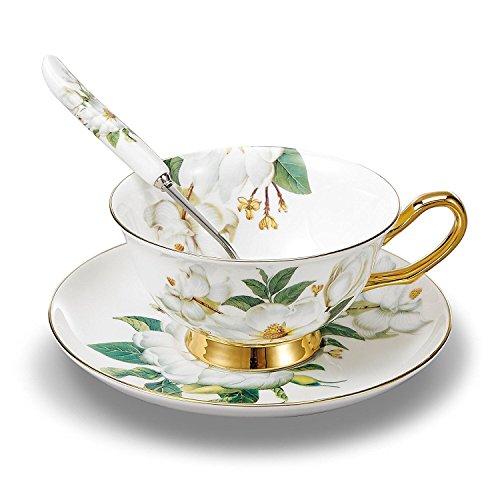 TouchLife Juego de tazas de té de porcelana fina, con platillo y cuchara, con motivo de...