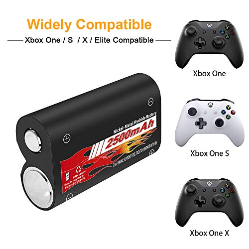 Upgraded Version Xbox One Battery Pack 2 x 2500mAh Rechargeable Battery for Xbox One/Xbox One S/Xbox One X/Xbox One Elite Wireless Controller