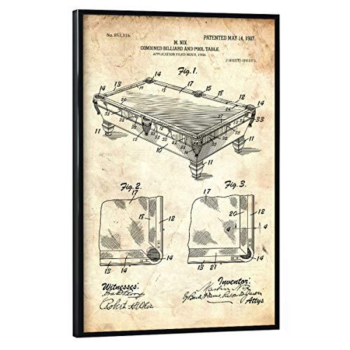 artboxONE Poster mit schwarzem Rahmen 60x40 cm Sport Billardtisch Patent (Antik) - Bild Billard