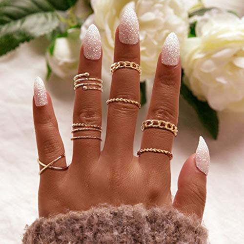 Aukmla Boho Knuckle Rings Set Gold Stackable Finger Rings Midi Size Joint Knuckle Rings Hand Accessories for Women and Girls 8PCS
