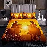 HSBZLH Weise Bettbezüge 3-Teiliges Bettwäsche-Set Western Cowboy Tagesdecke Teens Wild West Themen Cowboy Tagesdecke Für Kinder Jungen