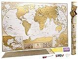 MyMap Grande Mappa del Mondo da Grattare - Edizione Deluxe - Con più di 10.000 Città e Luoghi da Grattare o Segnare con uno Spillo