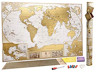 MyMap Mapamundi Deluxe «viaja y rasca» - Para Rascar los Lugares Que Has Visitado – Grande Con Pines - Marca 10 000 Ciudades y Lugares - Mapa para rascar - Rasca el Mundo - Rascar Mapamundi