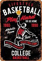 Shimaier 壁の装飾 ブリキ 看板メタルサイン Lifestyle College Basketball ウォールアート バー カフェ 30×40cm ヴィンテージ風 メタルプレート