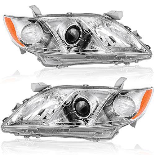 Compatible with 2007-2009 Toyota Camry Headlight Assembly OEDRO with Amber Side Clear Lens Driver Left Side & Passenger Right Side Projector Headlamps (Fits:Toyota Camry/Base/CE/LE/XLE)