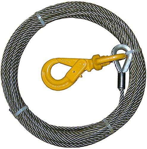 Vulcan Classic Galvanized Steel Core Winch Cable with Swivel Hook 3//8 x 100 Minimum Breaking Strength 15,100 lbs