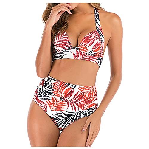 Genorsk - Traje de baño para mujer, sexy, cintura alta, dividido, para verano, ropa de mujer Rosa. XL