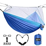 Hieha Double Camping Hammock with Mosquito Net, Portable Nylon Hiking Hammocks for Trees, Travel Outdoor Gear Camping Essential Hammock for 2 Adults(Dark Blue)
