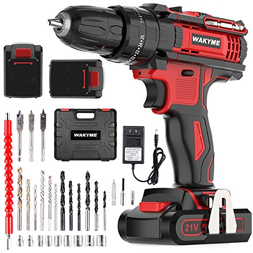 WAKYME Cordless Drill Driver Kit with 2 Batteries, 21V Impact Drill 350 In-lb Torque 25+3 Clutch, 3/8' Keyless Chuck, Variable Speed & Built-in LED Power Drill for Drilling Wall, Brick, Wood, Metal