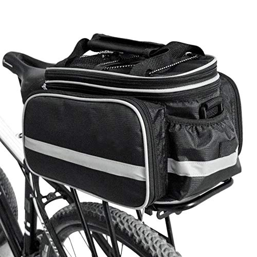 CHANGXI Fahrradtasche, Fahrradtaschen für Gepäckträger Tasche,Satteltasche 10-25L Multifunktion Packtasche Rucksack Handtasche, Haltbares Nylon Mit wasserdicht Regenfeste Abdeckung (Schwarz)
