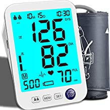 Blood Pressure Monitor Upper Arm Large LED Backlit Screen 1000 Sets Memory Automatic Digital BP Machine with Adjustable BP Cuff