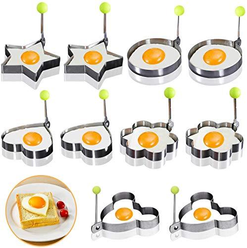 Omelette Form 10 Stück Antihaft-Pfanne für Bratpfanne Ei-Form Pfannkuchenmaschine mit Griff für Brateier, Kroketten