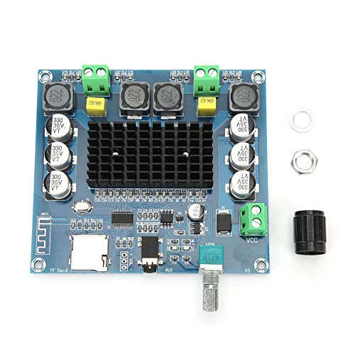 Digitale versterkerkaart, 3.6x3.3x0.7in Dual Sound Channel Bluetooth Audio Amplifier Board Ondersteunt geheugenkaart/Bluetooth/AUX audio-ingang, High Power Amplifier Board aluminiumlegering koellichaa