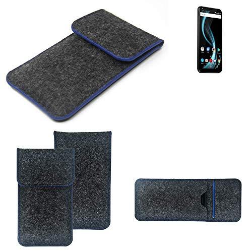 K-S-Trade Handy Schutz Hülle Für Allview X4 Soul Infinity Plus Schutzhülle Handyhülle Filztasche Pouch Tasche Hülle Sleeve Filzhülle Dunkelgrau, Blauer Rand