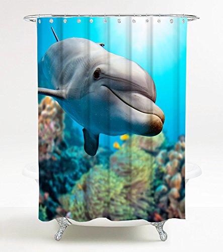 Sanilo Duschvorhang Delphine 180 x 200 cm, hochwertige Qualität, 100prozent Polyester, wasserdicht, Anti-Schimmel-Effekt, inkl. 12 Duschvorhangringe