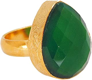 Handmade 22k Yellow Gold Vermeil Green Onyx Gemstone Pear Shape Statement Ring For Wedding Gift
