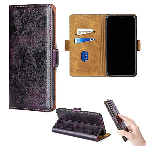 ROUENWCK Flip Caso Para Polaroid Power P600sl 6 'Funda teléfono soporte cubierta [púrpura]
