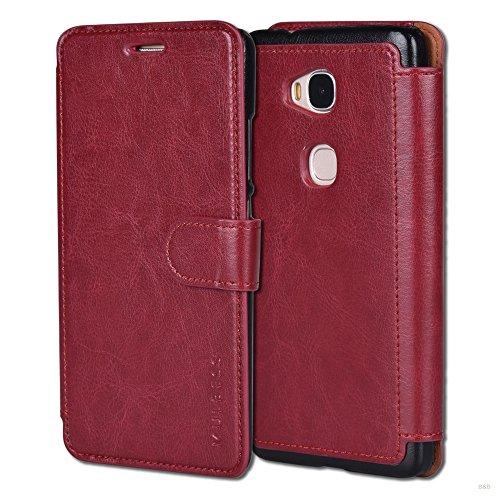 Mulbess Handyhülle für Huawei Honor 5X Hülle Leder, Layered Dandy Leder Flip Tasche für Huawei Honor 5X SchutzTasche Cover Etui, Wein Rot