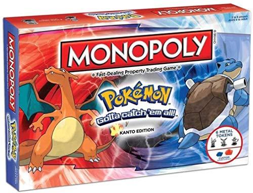 POI Pokemon Monopoly Classic Version Juego, Pokemon Partido multijugador monopolio Familia Juego de Mesa para Las Edades 8+, 2-6 Jugador