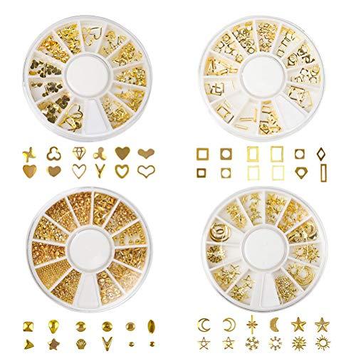jlon 4 cajas para decoración de uñas de metal dorado en 3D, accesorios para decoración de uñas, diseño de luna, sol y corazón