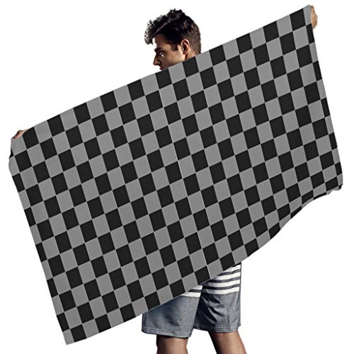 Tentenentent Chessboard Beach Towel Microfibre Thin Beach Blanket - Funny Black and White Yoga Mat for Outdoor Use, Ployester, White3, 150x75 cm