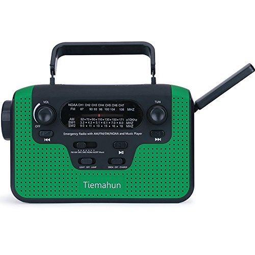 Tiemahun NOAA Weather Alert Emergency Radio WB/FM/AM/SW, Solar/Hand Crank Windup, MP3 Music Radio, 2300mAh Mobile Phone Charger LED Flashlight Reading Lamp TF Card Speaker (Green)
