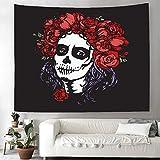 OATHENE Sugar Skull Girl Face with Flowers Wreath Tapestry Human Skeleton Santa Muerte Woman Make up Home Decor Tapestry for Bedroom Living Room.