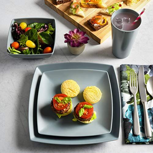Gibson Home Soho Grayson Square Melamine Dinnerware Set, Service for Four (16pcs), Grey