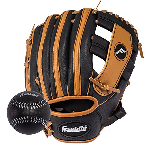 Franklin Sports RTP Teeball Performance Gloves & Ball Combo, Black/Tan, 9.5″, Right Hand Throw