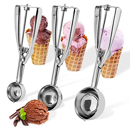 Cookie Scoop Set,KnmyLife Stainless Steel Cookie Scoop for Baking Set of 3,Ice Cream Scooper Include Small(1.57 inch), Medium(1.97 inch), Large(2.36 inch),Ergonomic Handle Cookie Dough Scoop