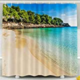 Cortina de ducha para niños, juego de cortinas de ducha con ganchos, paisaje de la isla España Playa de Mallorca Cala Gran hermosa bahía junto al mar de Cala D o Islas Baleares Medite Decoración imper