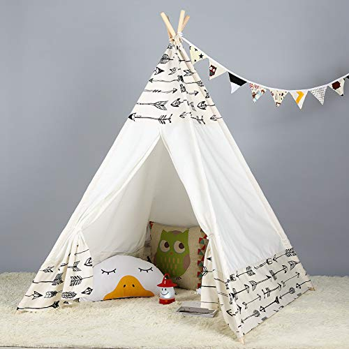 Steegic Portable Kids Cotton Canvas Teepee Indian Play Tent Playhouse - Frontier Design