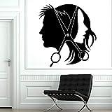 Lamubh Barbería Puerta de Cristal decoración Vinilo calcomanía peluquería Estilista peluquería Unisex Pegatinas de Mural 57x62 cm